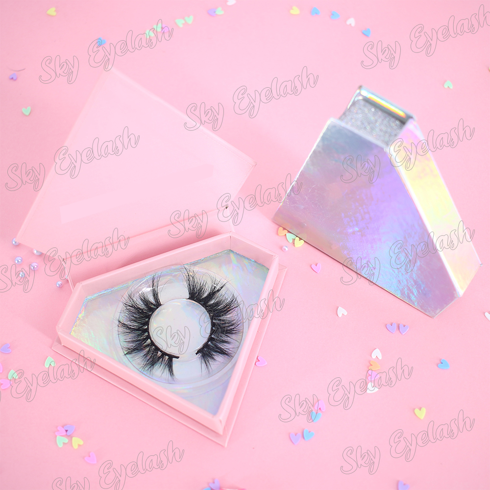 Lash vendor supply dramatic 25mm 3D mink eyelashes with custom packaging to USA
