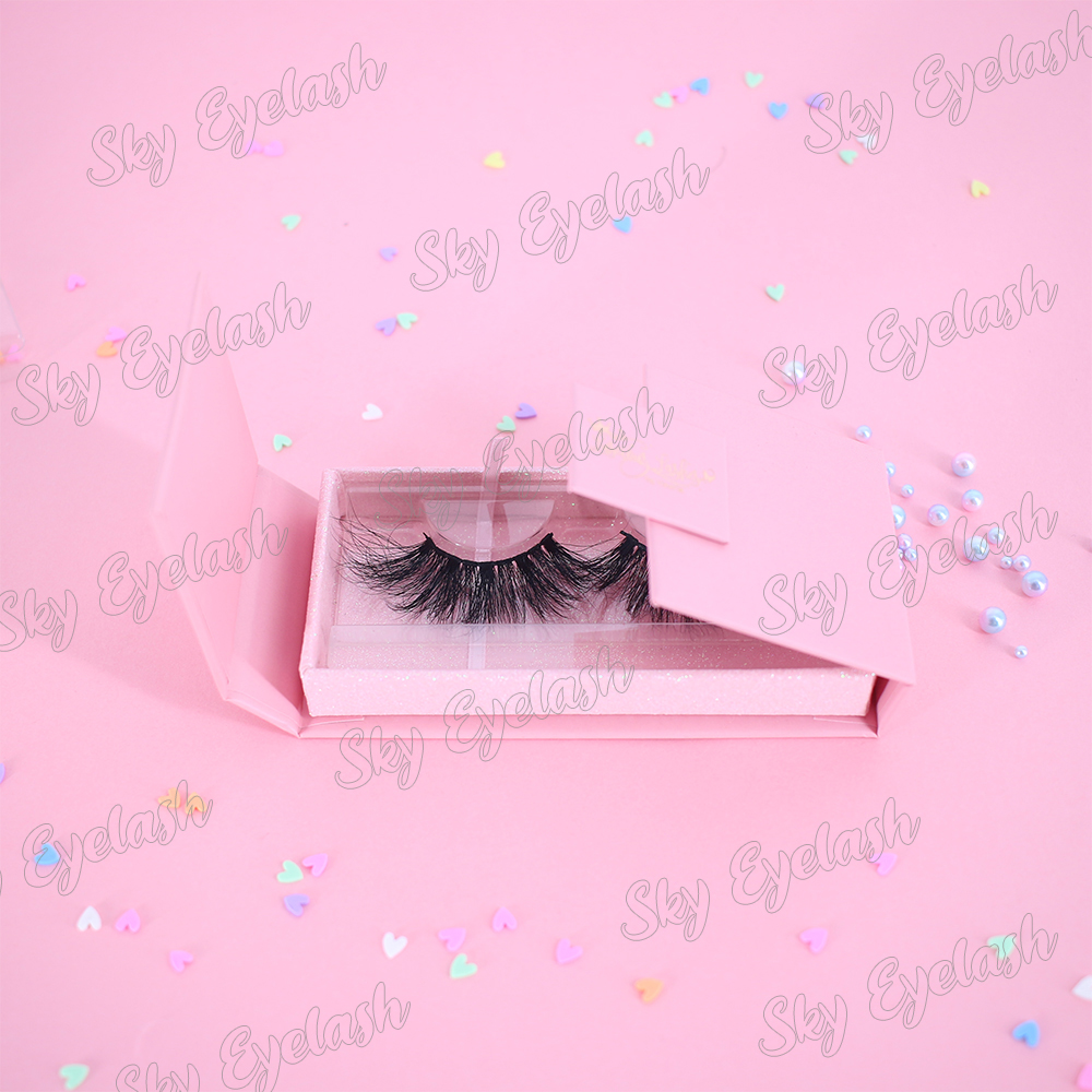 3D mink lashes 25mm eyelashes wholesale with handmade magnetic box at competitive price-BW