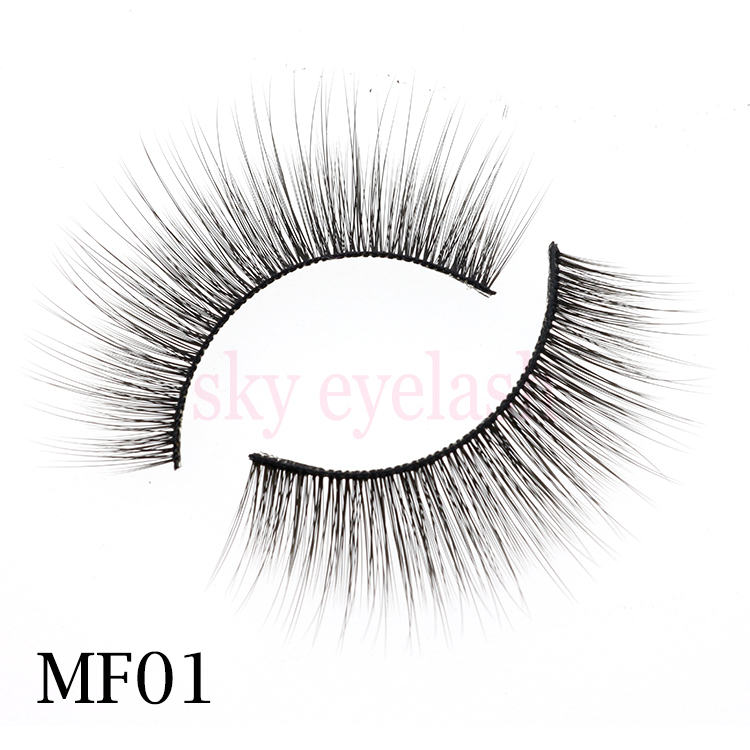 False eyelashes vendor supply cheap wispy 3D silk eyelashes with custom package-SX