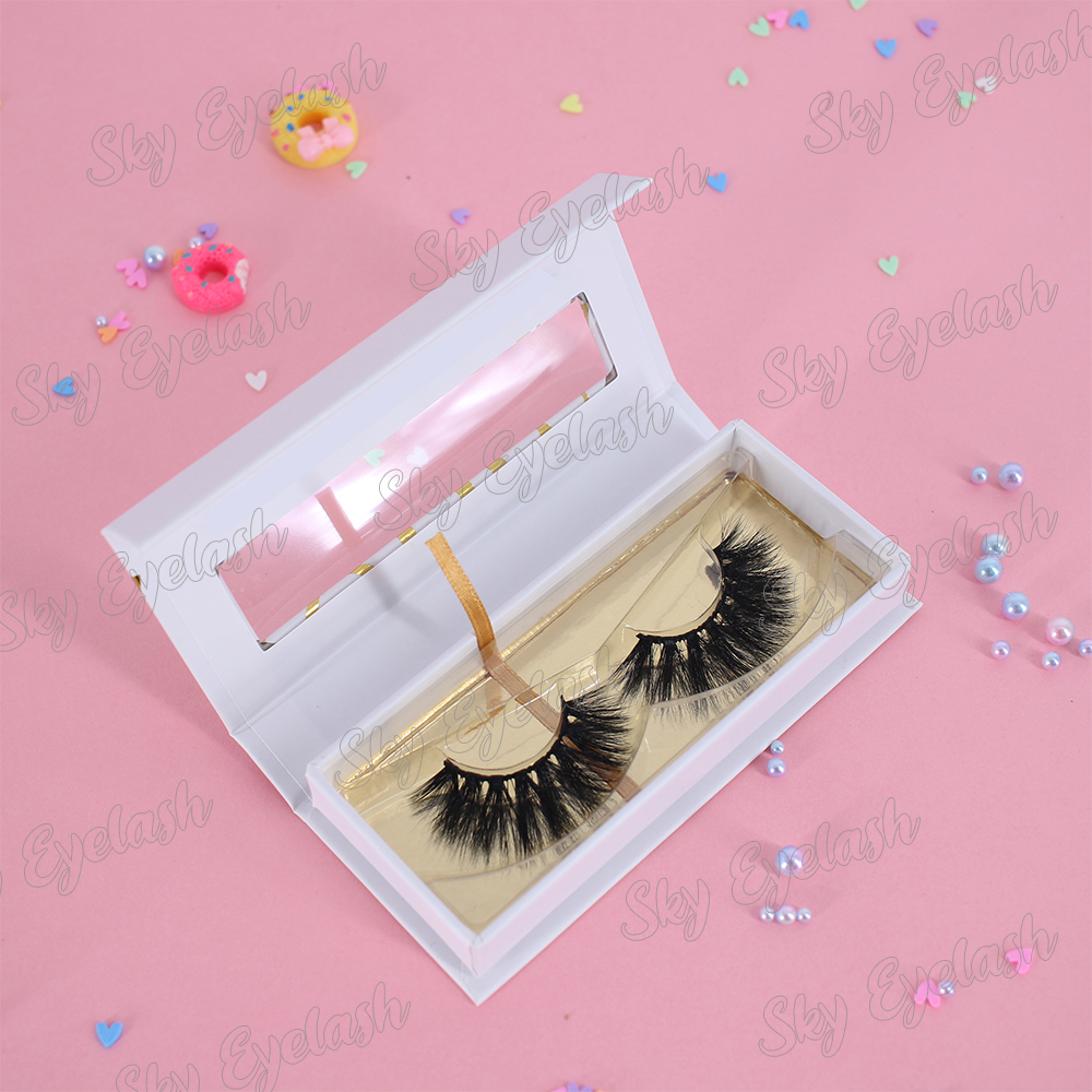 Custom eyelash packaging for 25mm 3D faux mink eyelashes with own brand